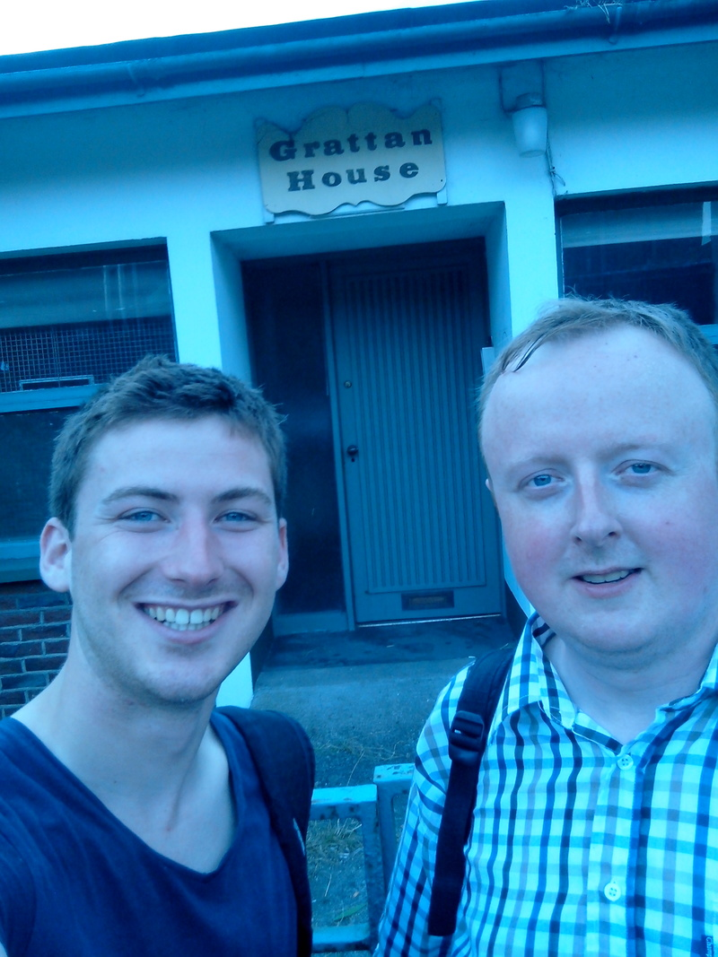 Niall and Steve outside Grattan House, site of the new Forma Biolabs